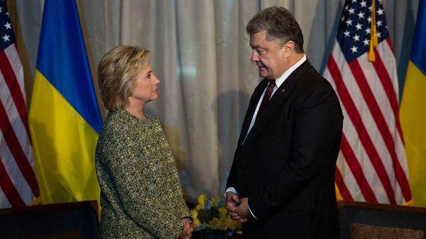 Петро Порошенко на зустрічі з кандидатом на пост президента США Гілларі Клінтон