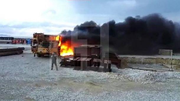Загорелся автомобильный кран