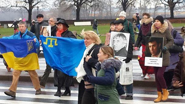 В Санкт-Петербурге состоялась акция с украинскими флагами