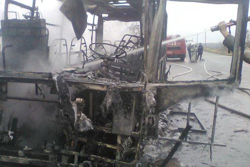 Згоріла маршрутка на Харківщині