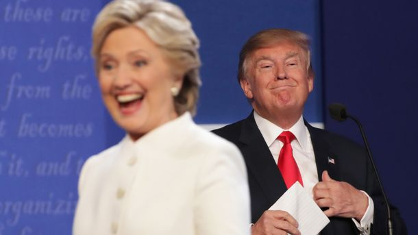 Хиллари Клинтон и довольный Дональд