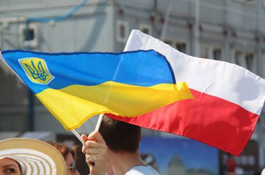 Флаги Украины и Польши