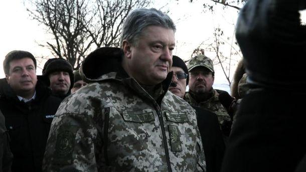 Петро Порошенко привітав воїнів на передовій