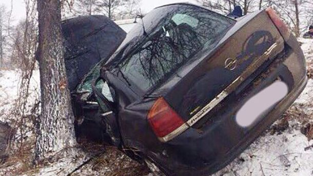 Машина съехала на обочину, где столкнулась с деревом