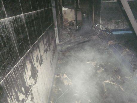Наслідок пожежі в сауні у Красногорівці