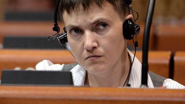 Надія Савченко під час засідання в ПАРЄ