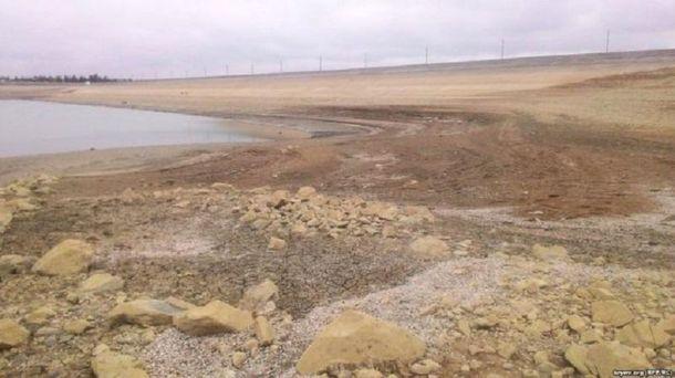 Обмелевшее Белогорское водохранилище