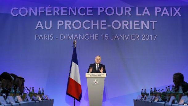 Міністр закордонних справ Франції Жан-Марк Ейро відкриває Близькосхідну мирну конференцію в Парижі