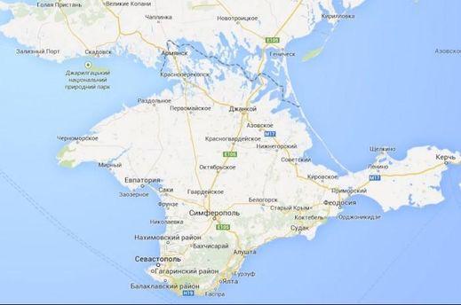 Крым на русской версии Google Maps