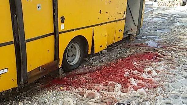 Обстрелянный автобус под Волновахой