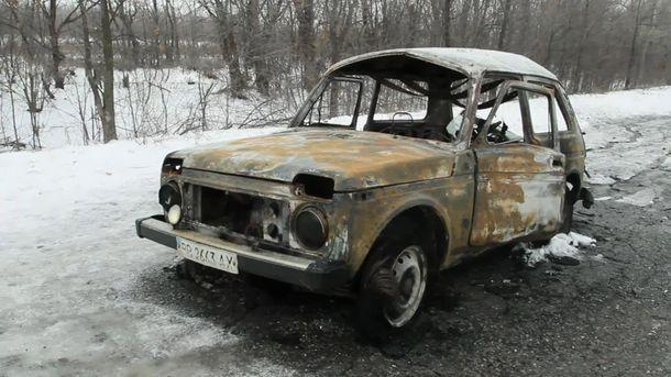 Розстріляний в селищі автомобіль