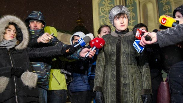 Надія Савченко дає коментар
