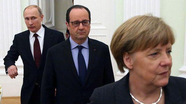 Ангела Меркель, Франсуа Олланд и Владимир Путин