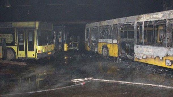 Пожар в автобусном парке