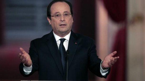 Во время выступления Олланда раздался выстрел