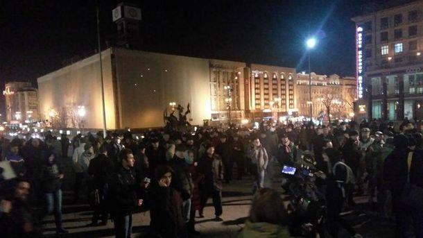 Люди прийшли на Майдан підтримати блокувальників