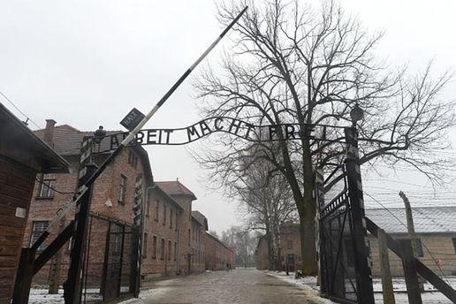 Голі активісти проводили свою акцію під воротами концтабору, де загинули сотні тисяч людей