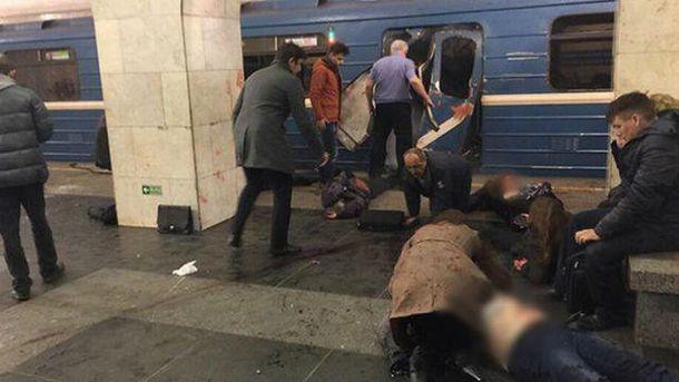 Место взрыва в метро в Петербурге