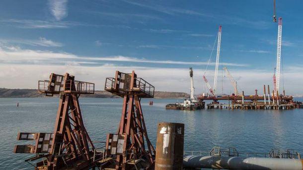 Строительство Керченского моста, март 2017