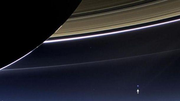 Кільця Сатурна і вигляд на планету Земля