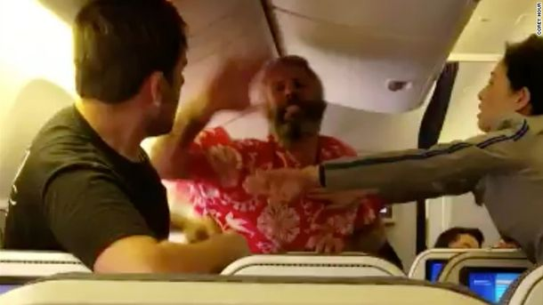 Жестокая драка на борту самолета