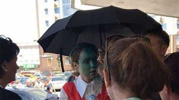 Наталью Королевскую облили зеленкой в Одессе