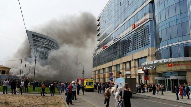 Пожар возле киевского вокзала в Москве