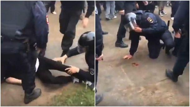 Нападение на ОМОНовца во время митинга в Петербурге