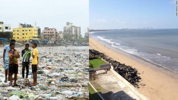 Мужчина из Индии убрал один из самых грязных пляжей в мире