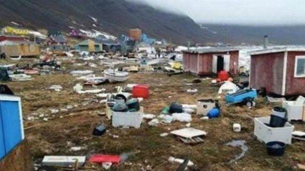 Последствия цунами в Гренландии