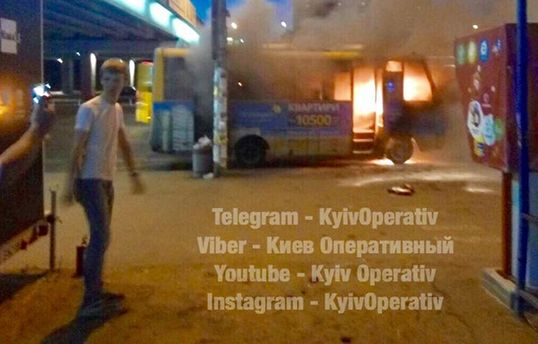 В Києві згоріла маршрутка