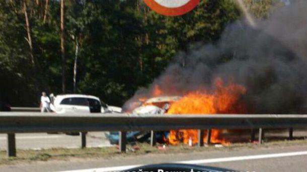 Масштабная авария на Бориспольской трассе