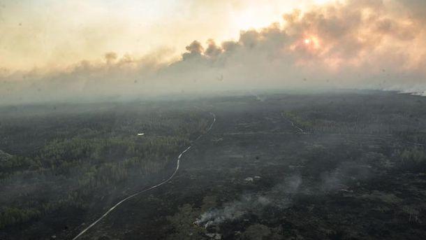 Пожар в Чернобыльской зоне отчуждения (иллюстрация)