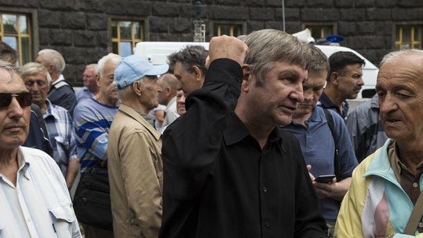 Протест ветеранов МВД под зданием Кабмина в Киеве