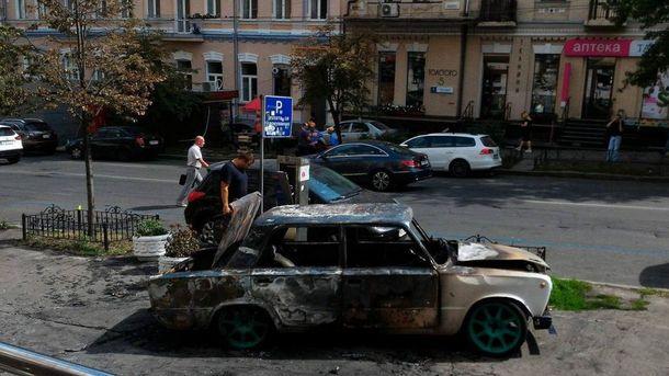 Автомобіль вибухнув у центрі Києва