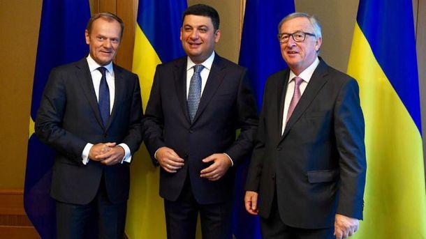 Дональд Туск і Жан-Клод Юнкер з візитом в Україні