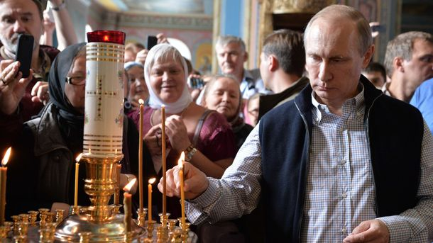 Владимир Путин во время посещения монастыря на Валааме (Республика Карелия)