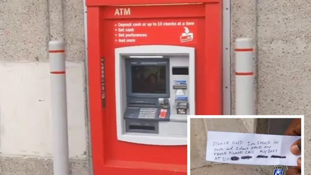 Чоловік застряг в банкоматі і просив про порятунок через записки
