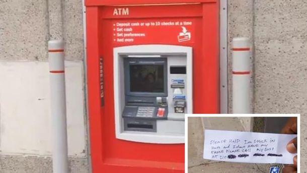 Мужчина застрял в банкомате и просил о спасении через записки