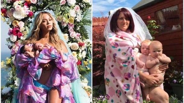 Мать двойняшек из Ирландии смешно скопировала фотографию Бейонсе