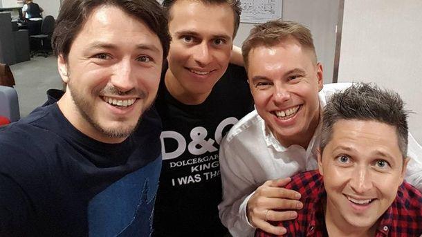 Популярные украинские ведущие: Сергей Притула, Александр Скичко, Андрей Доманский и Александр Педан