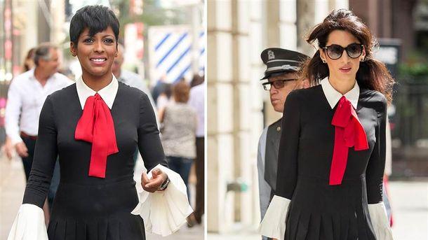 Журналистка Темрон Холл и юрист Амаль Клуни в платье от Gucci