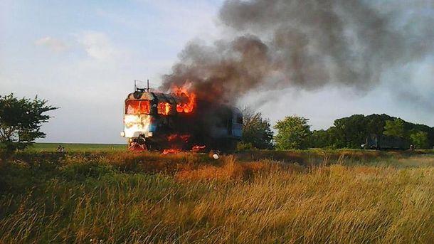 ГСЧС: Локомотив пригородной электрички зажегся находу вВинницкой области