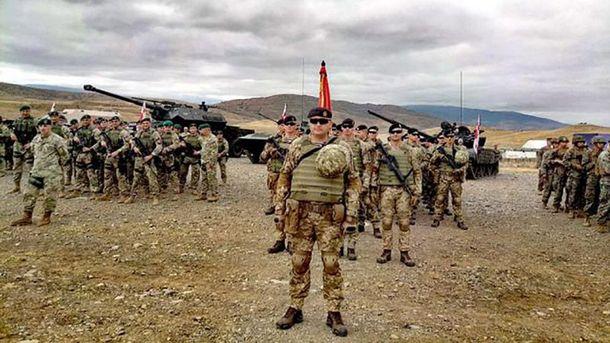 Украинские морские пехотинцы тренировались в Грузии.