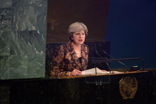 Тереза Мэй во время выступления на Генассамблее ООН