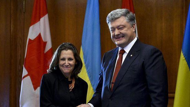 Порошенко и руководитель МИД Канады обсудили Донбасс иКрым «намове»