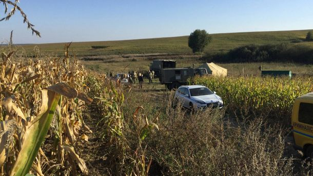 Место падения самолета Л-39 в Хмельницкой области
