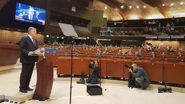 Петро Порошенко на засіданні ПАРЄ