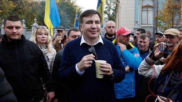 Міхеїл Саакашвілі на мітингу під Верховною Радою