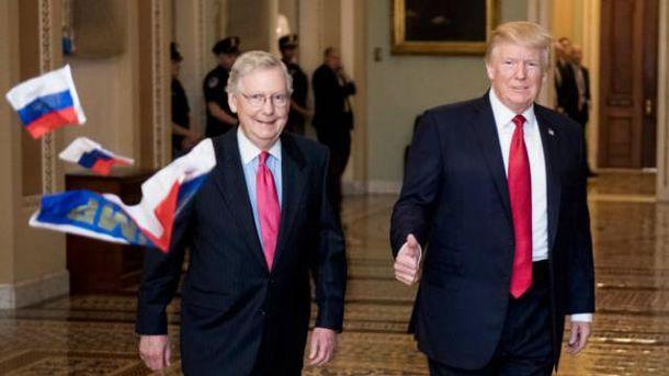 У Конгресі США уТрампа кинули російські прапори